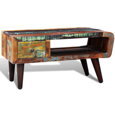 vidaXL Coffee Table with Curved Edge 1 Drawer Reclaimed Wood[2/12]