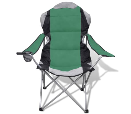 Folding Chair Set 2 pcs Camping Outdoor Chairs XXL Bag Green[3/7]