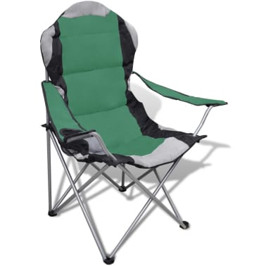 Folding Chair Set 2 pcs Camping Outdoor Chairs XXL Bag Green[2/7]