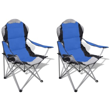 Folding Chair Set 2 pcs Camping Outdoor Chairs XXL with Bag Blue[1/7]