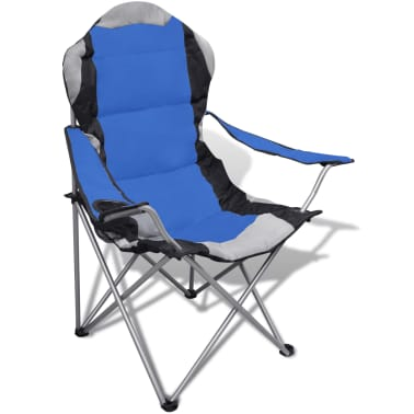 Folding Chair Set 2 pcs Camping Outdoor Chairs XXL with Bag Blue[2/7]