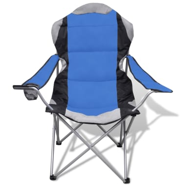 Folding Chair Set 2 pcs Camping Outdoor Chairs XXL with Bag Blue[3/7]