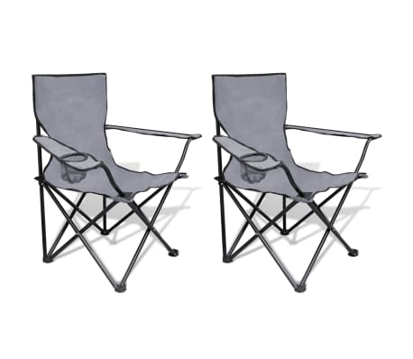 Folding Chair Set 2 pcs Camping Outdoor Chairs with Bag Gray[1/6]