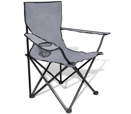 Folding Chair Set 2 pcs Camping Outdoor Chairs with Bag Gray[2/6]