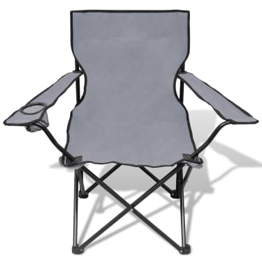 Folding Chair Set 2 pcs Camping Outdoor Chairs with Bag Gray[3/6]