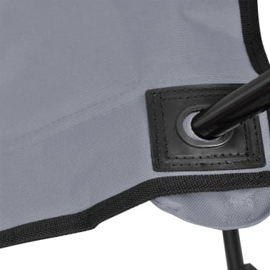 Folding Chair Set 2 pcs Camping Outdoor Chairs with Bag Gray[5/6]