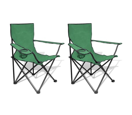 Folding Chair Set 2 pcs Camping Outdoor Chairs with Bag Green[1/6]