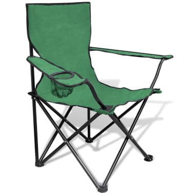 Folding Chair Set 2 pcs Camping Outdoor Chairs with Bag Green[2/6]