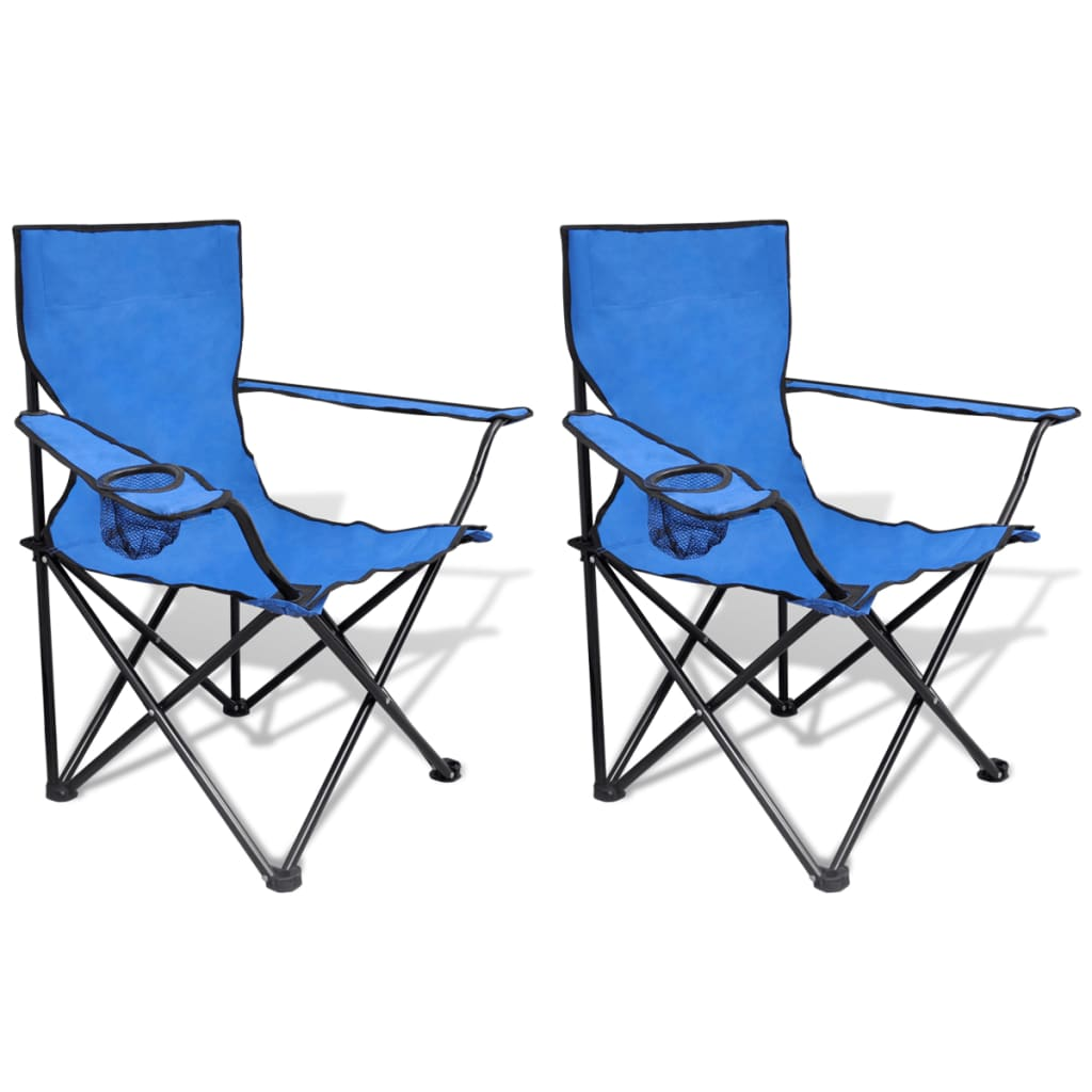 vidaXL Folding Chair Set 2 pcs Camping Outdoor Chairs with Bag Blue