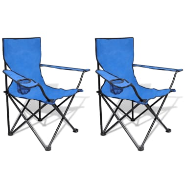 Folding Chair Set 2 pcs Camping Outdoor Chairs with Bag Blue[1/6]