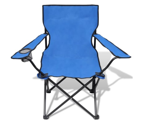 Folding Chair Set 2 pcs Camping Outdoor Chairs with Bag Blue[3/6]