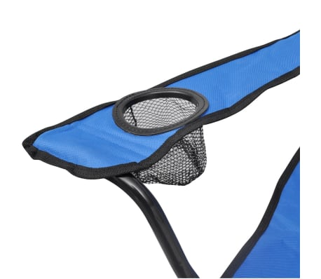 Folding Chair Set 2 pcs Camping Outdoor Chairs with Bag Blue[4/6]
