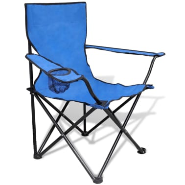 Folding Chair Set 2 pcs Camping Outdoor Chairs with Bag Blue[2/6]