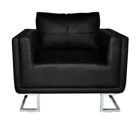 vidaXL Fauteuil Cube en Cuir Noir Sofa en Cuir Fauteuil de Salon Canap/é en Cuir