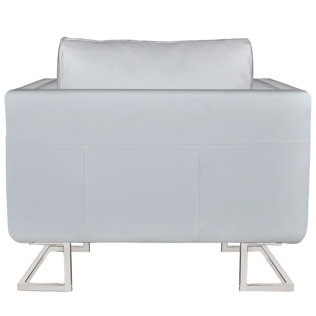 vidaXL Fauteuil met verchroomde poten kubus kunstleer wit