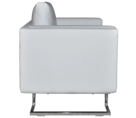vidaXL Fotoliu cub, picioare cromate, piele artificială, alb[5/6]