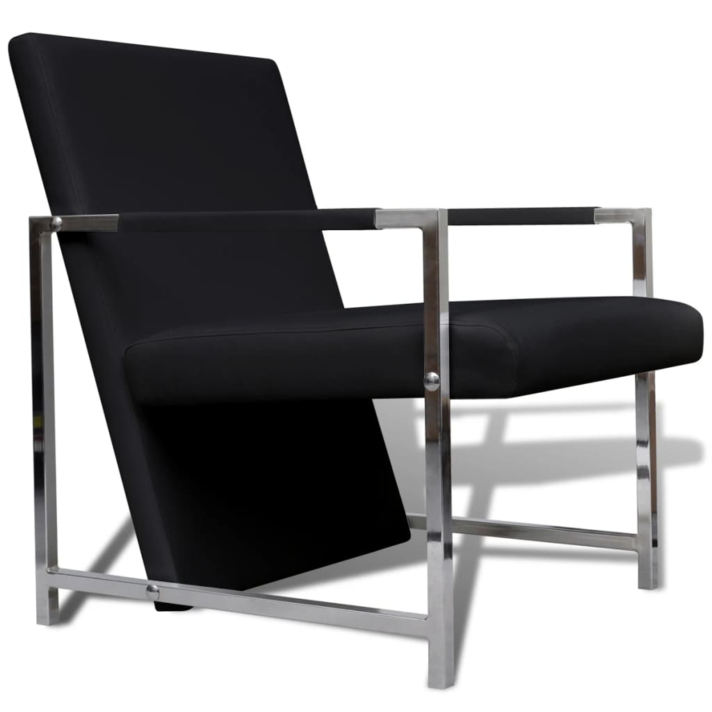 vidaXL Πολυθρόνα Μαύρη από Συνθετικό Δέρμα με Πόδια Χρωμίου