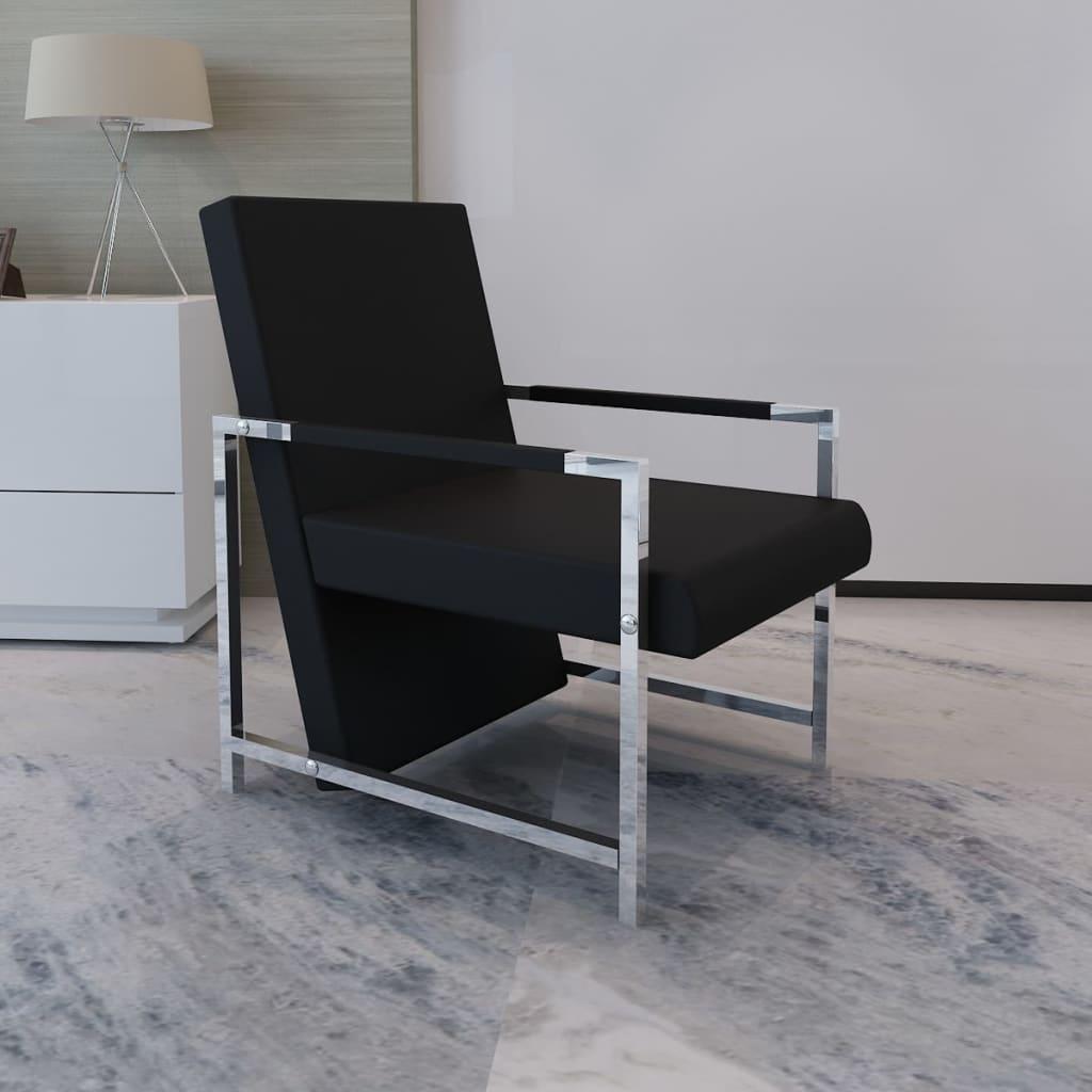 Fauteuil design met chromen voeten (zwart)