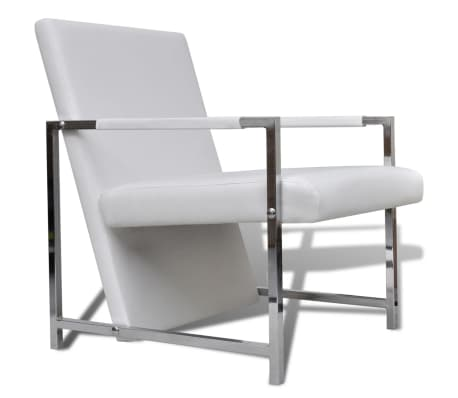 vidaXL Armchair with Chrome Feet White Faux Leather