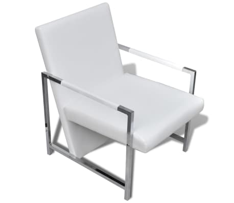 vidaXL Sillón con estructura cromada y cuero artificial blanco[5/6]