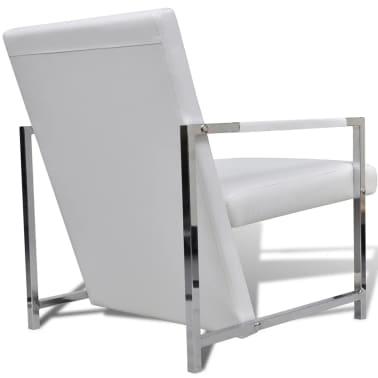 vidaXL Sillón con estructura cromada y cuero artificial blanco[3/6]