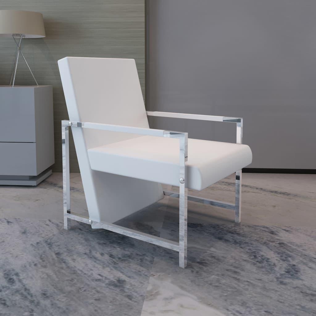 vidaXL Fotel z chromowanymi nóżkami, biały, sztuczna skóra
