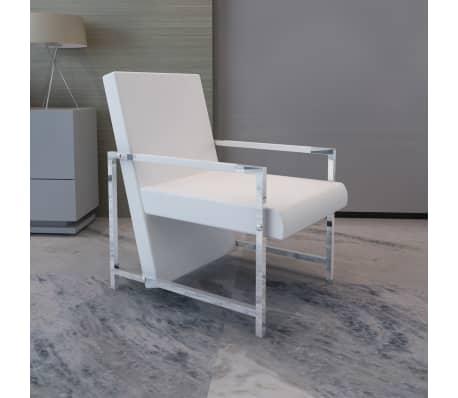 vidaXL Sillón con estructura cromada y cuero artificial blanco[1/6]