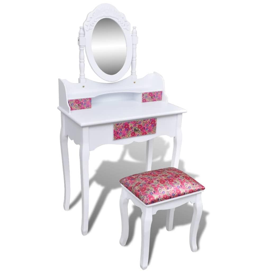 vidaXL Masă de toaletă cu oglindă și taburet, model floral poza 2021 vidaXL