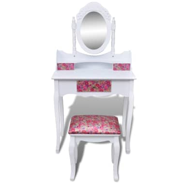acheter vidaxl coiffeuse avec miroir et tabouret motif de. Black Bedroom Furniture Sets. Home Design Ideas