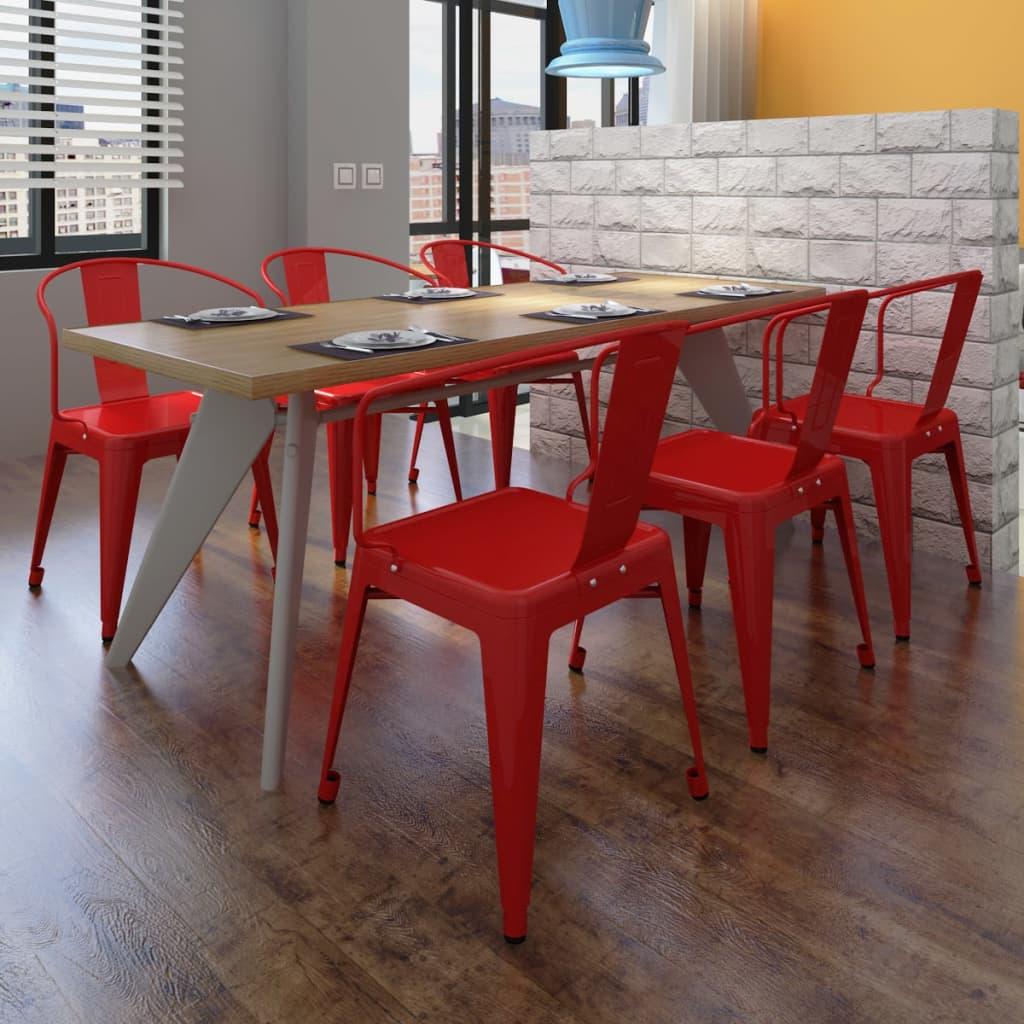 Jídelní židle s opěradlem, červené, 6 ks