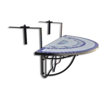 Vidaxl Balkonhängetisch Blau Und Weiß Mosaik