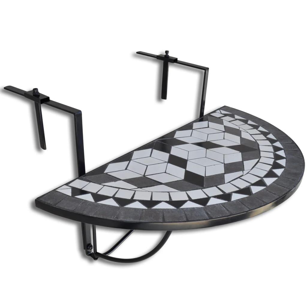 Závěsný mozaikový půlkulatý balkonový stolek - černo-bílý