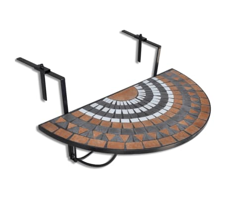 vidaXL Hanging Balcony Table Terracotta and White Mosaic