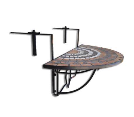 Závesný polkruhový stôl na balkón s terakota a bielou mozaikou[2/6]