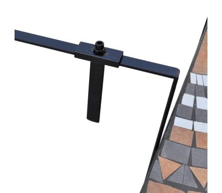 Závesný polkruhový stôl na balkón s terakota a bielou mozaikou[3/6]