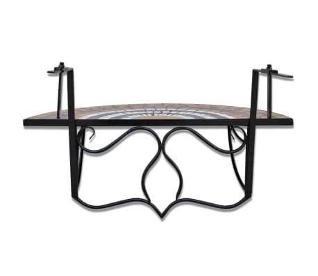 Závesný polkruhový stôl na balkón s terakota a bielou mozaikou[4/6]