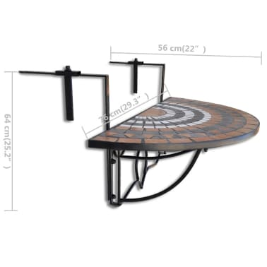 Závesný polkruhový stôl na balkón s terakota a bielou mozaikou[5/6]