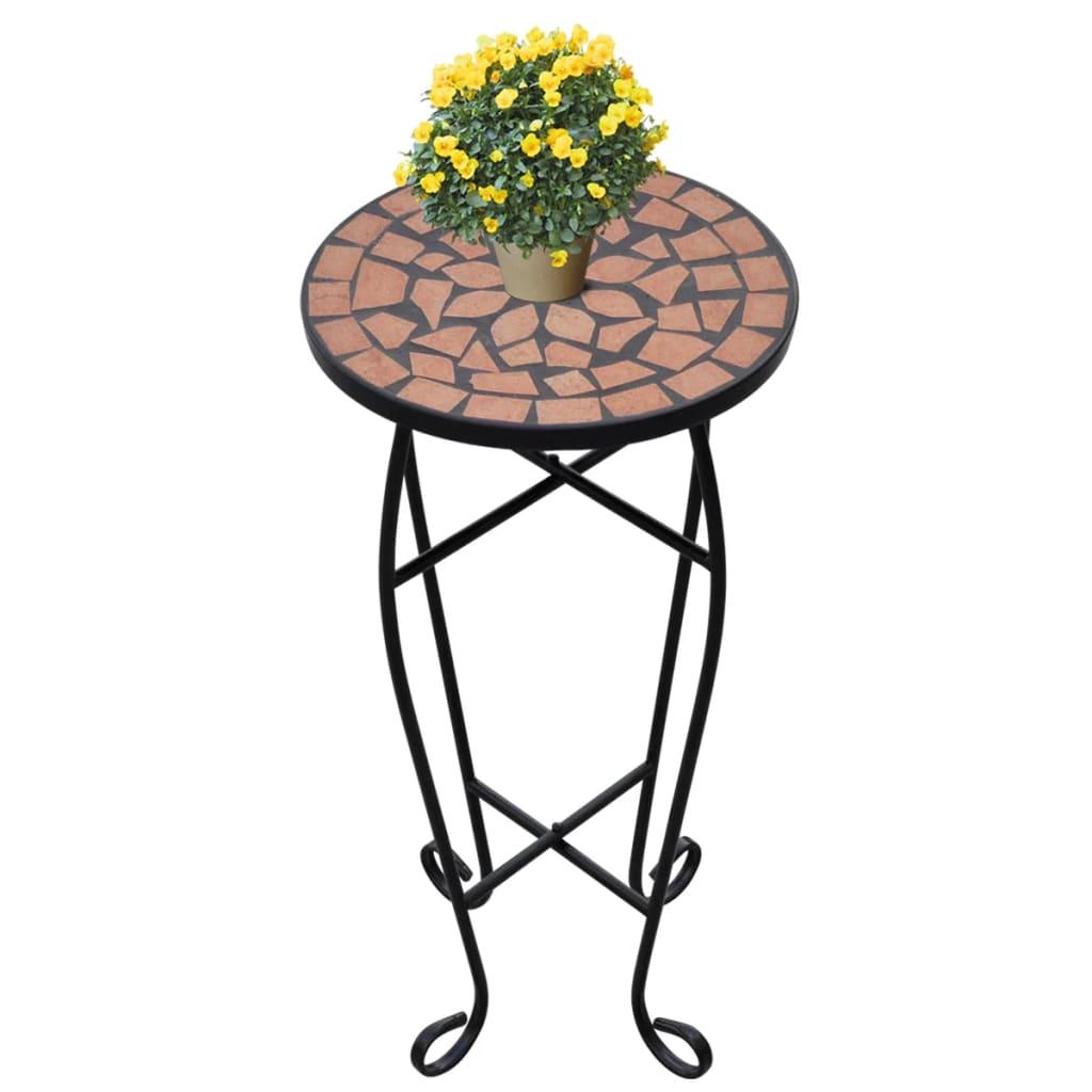 Mozaikový stolek na květiny - průměr 30 cm - terakota