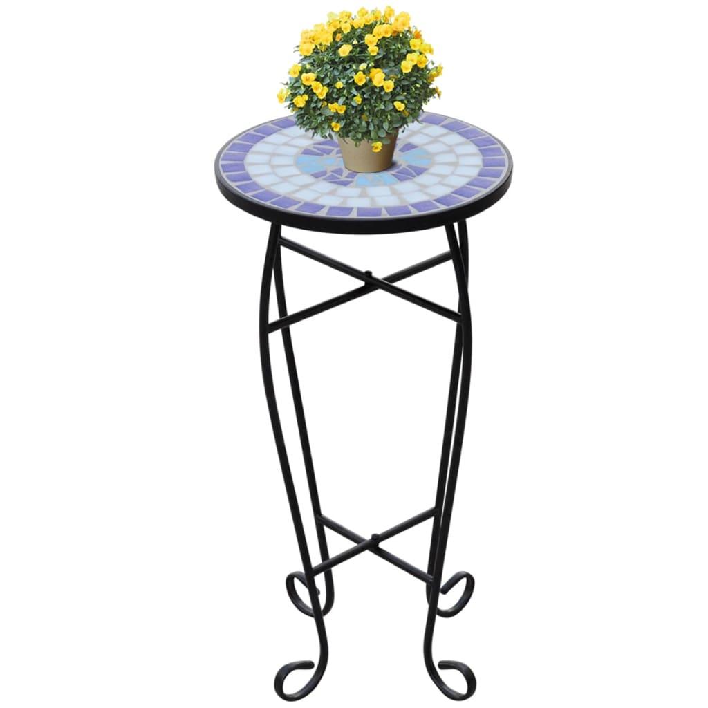 Mozaikový odkládací stolek na květiny bílý a modrý