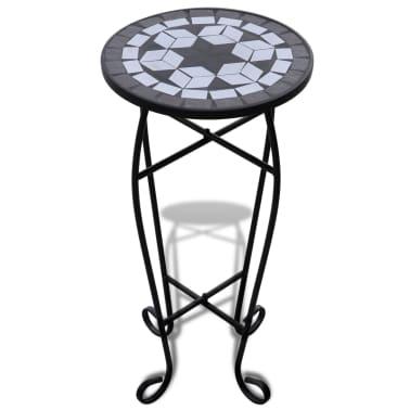Mozaikový stolek na květiny - průměr 30 cm - černo-bílý[2/5]