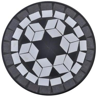 Mozaikový stolek na květiny - průměr 30 cm - černo-bílý[3/5]