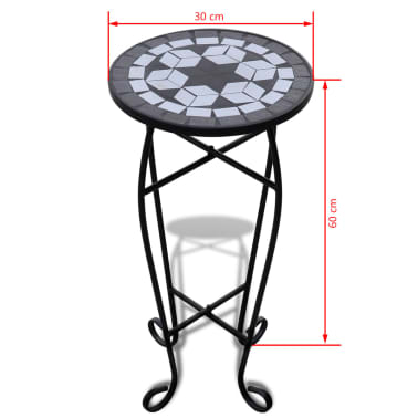 Mozaikový stolek na květiny - průměr 30 cm - černo-bílý[5/5]
