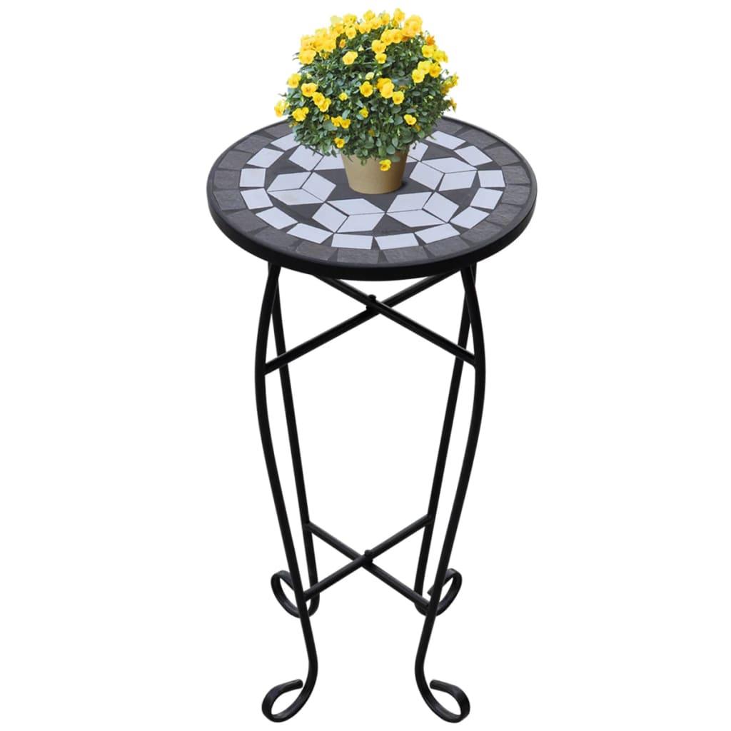 Mozaikový odkládací stolek na květiny černobílý