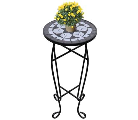 Mozaikový stolek na květiny - průměr 30 cm - černo-bílý[1/5]