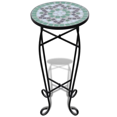vidaXL Mosaic Side Table Plant Table Green White[2/5]