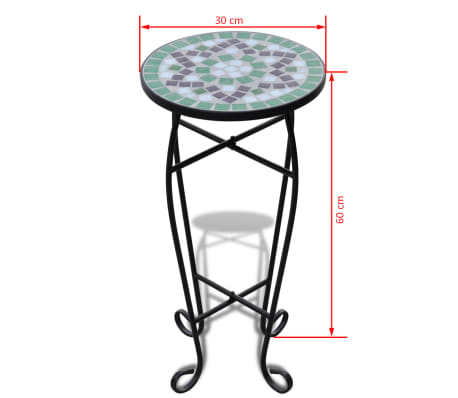 vidaXL Mosaic Side Table Plant Table Green White[5/5]