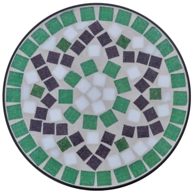 vidaXL Mosaic Side Table Plant Table Green White[3/5]