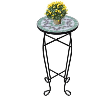 vidaXL Mosaic Side Table Plant Table Green White[1/5]