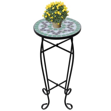 Mosaic Side Table Plant Table Green White[1/5]