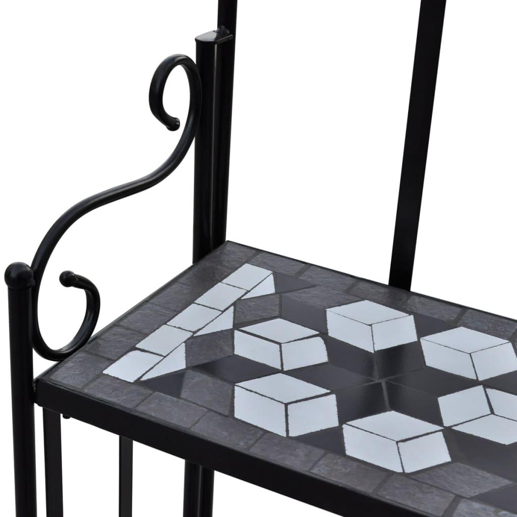 vidaXL Plantenstandaard met 3 verdiepingen mozaïek zwart-wit
